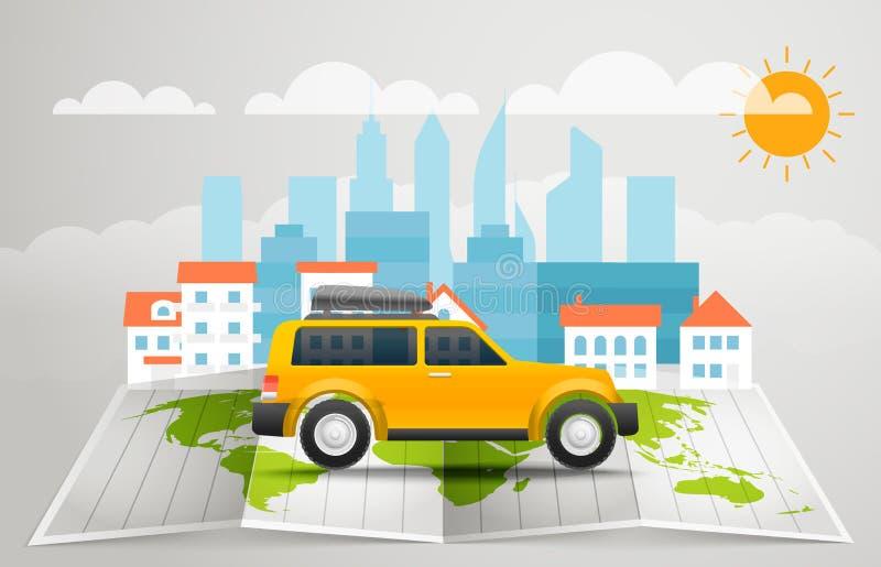 与公共汽车的世界地图 传染媒介infographic元素 皇族释放例证
