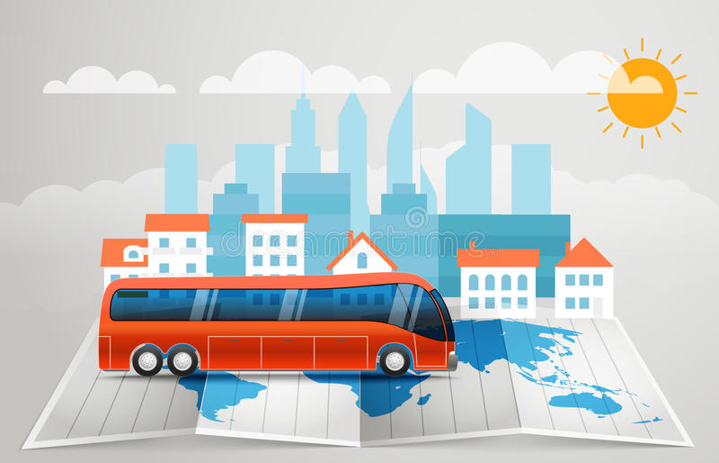 与公共汽车的世界地图 分别地层状的单元文件infographic导航 皇族释放例证