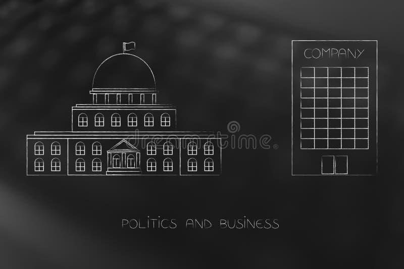 与公司总部大厦的政府大厦在i旁边 向量例证