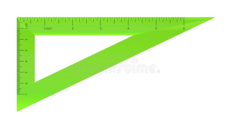 与公尺和皇家单位统治者标度的塑料三角 皇族释放例证