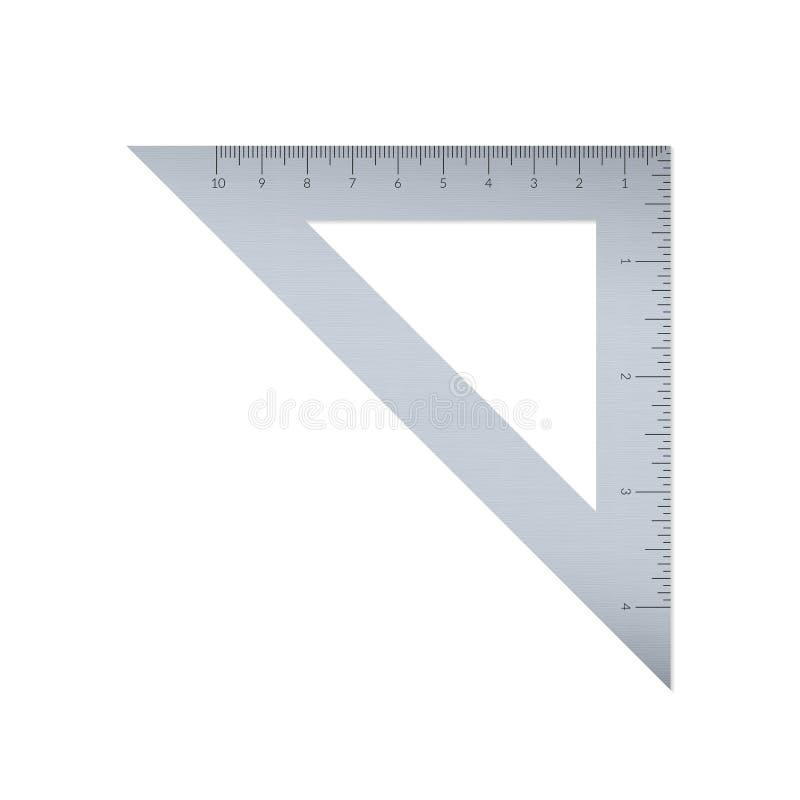 与公尺和皇家单位统治者标度的钢三角 库存例证
