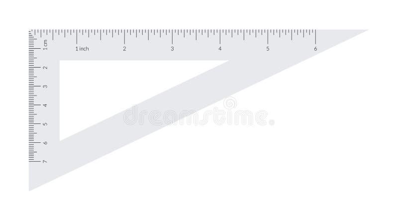 与公尺和皇家单位统治者的塑料三角 向量例证