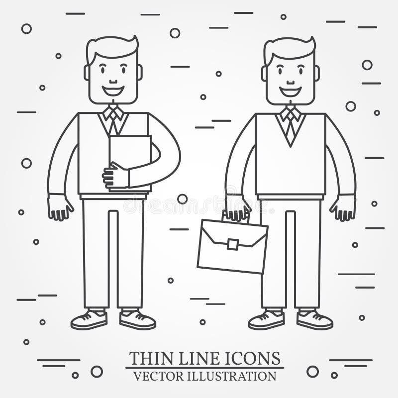与公文包的与文件夹稀薄的线象的商人和商人 对网络设计和应用接口,也有用的fo 向量例证