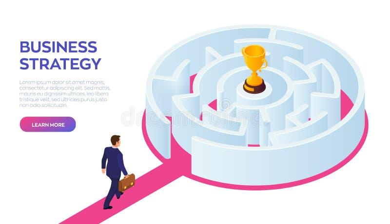 与公文包的商人在手中走到成功的通过迷宫 路成功 金战利品杯  向量例证