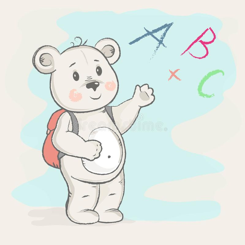 与公文包的逗人喜爱的熊显示 库存例证
