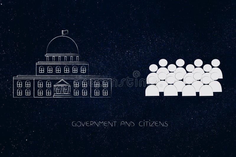 与公民人群的政府大厦在它旁边的 皇族释放例证