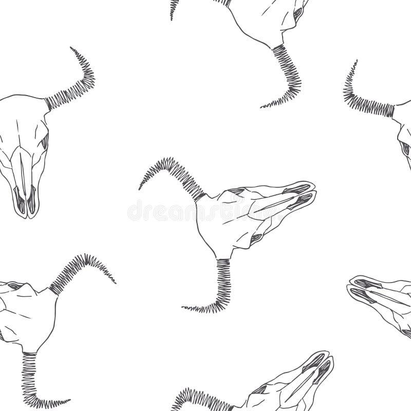 与公牛头骨剪影的传染媒介无缝的样式 手拉的tex 皇族释放例证