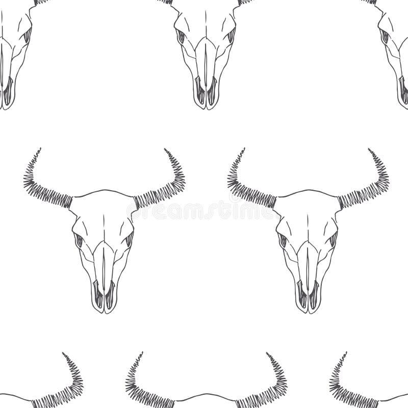 与公牛头骨剪影的传染媒介无缝的样式 手拉的tex 向量例证