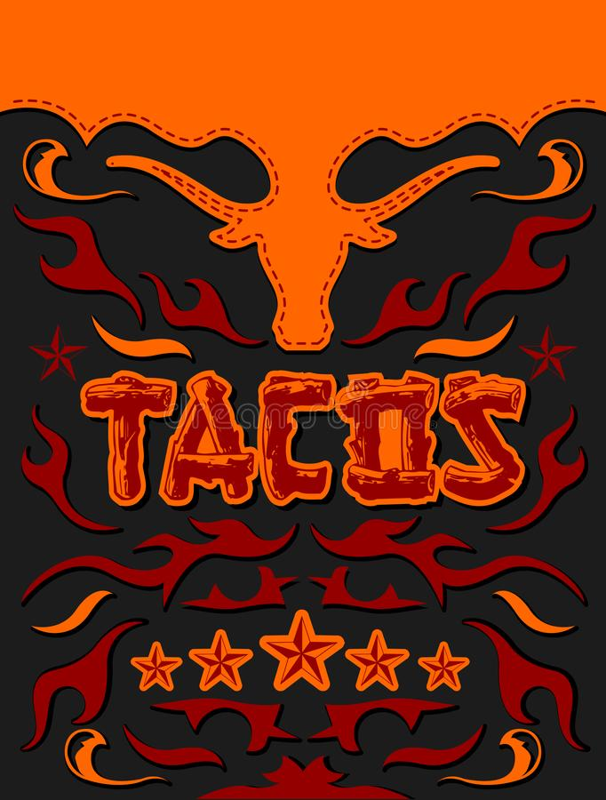 与公牛概念的炸玉米饼菜单,五个星发牢骚肉餐馆海报 向量例证