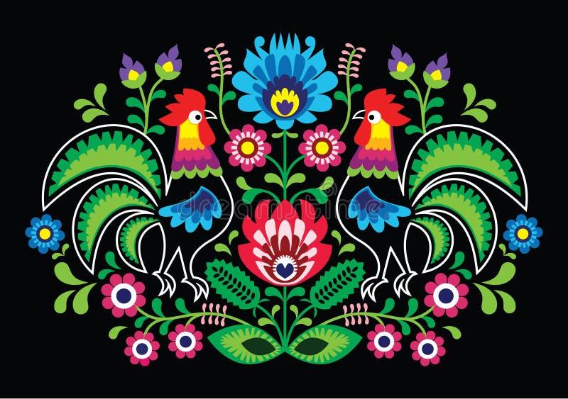 与公鸡的波兰花卉刺绣-传统民间样式 库存例证