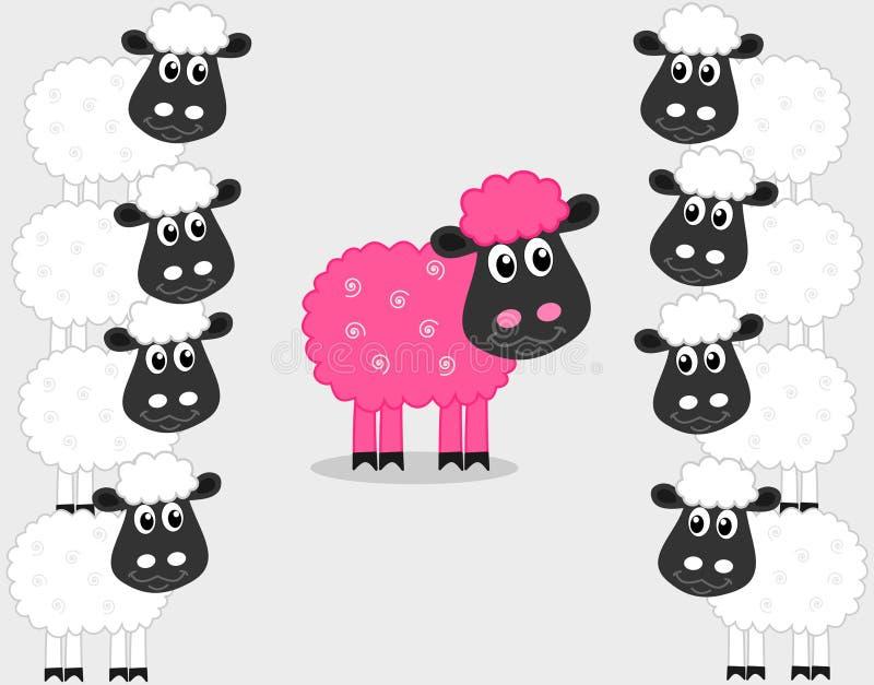 与公绵羊的一只桃红色绵羊 库存例证
