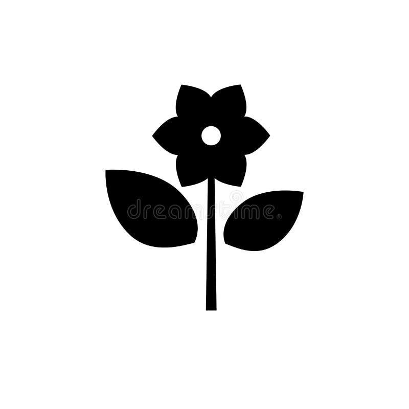 与六个瓣的简单的花象 被隔绝的黑纵的沟纹 向量例证