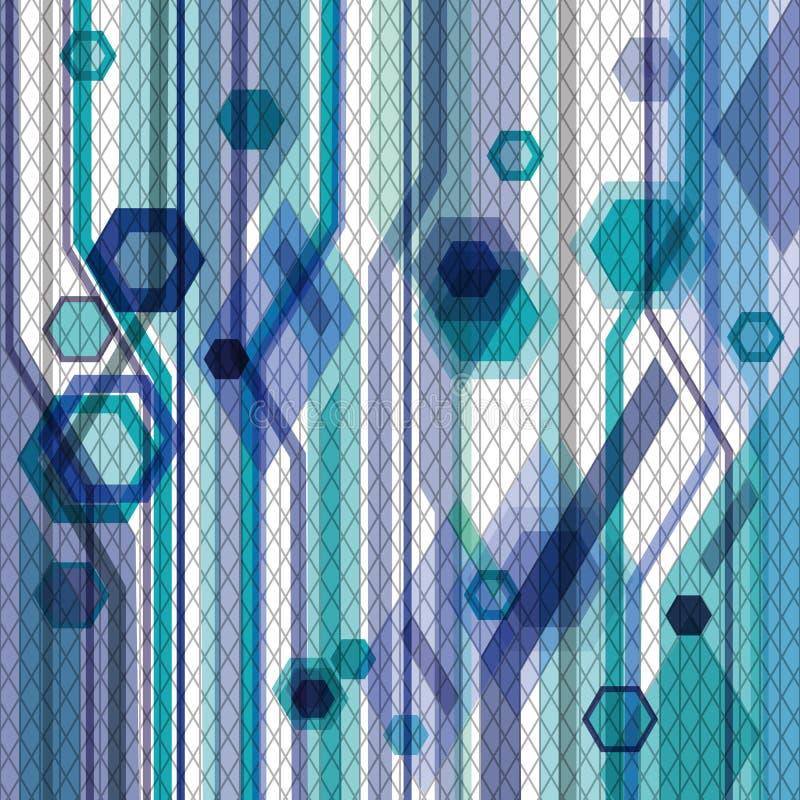 与六角形、线路和净额的蓝色背景 向量例证