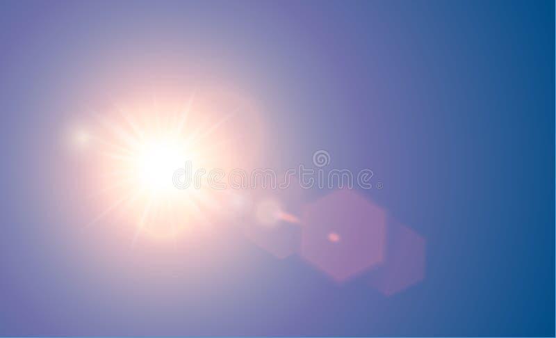 与六角形元素的传染媒介透明明亮的红色阳光特别透镜火光光线影响 Sunrice或日落,星爆炸 库存例证