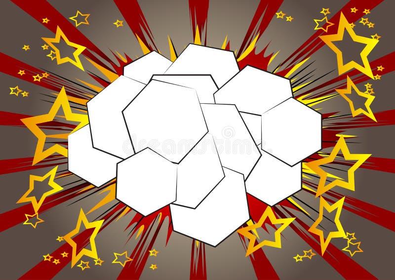与六角形形状的泡影的漫画背景 向量例证