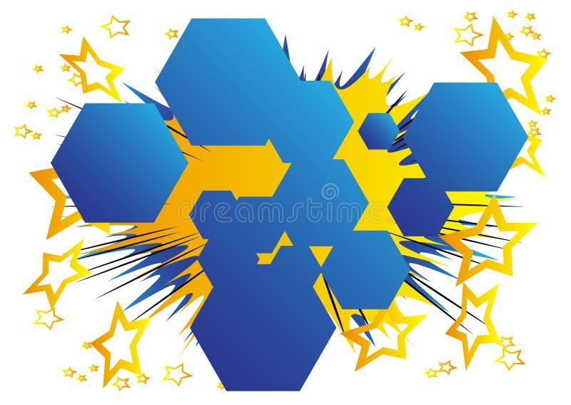 与六角形形状的泡影的漫画背景 库存例证