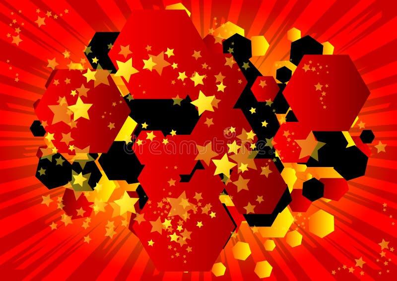 与六角形形状的泡影的漫画背景 皇族释放例证