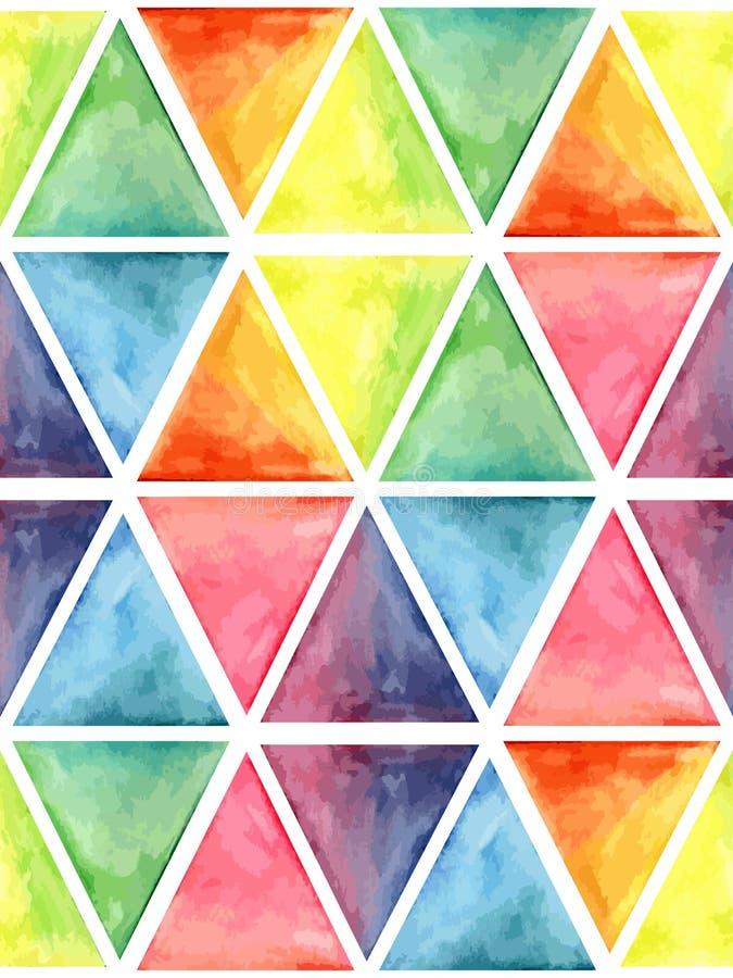 与六角形的传染媒介水彩几何无缝的样式 向量例证