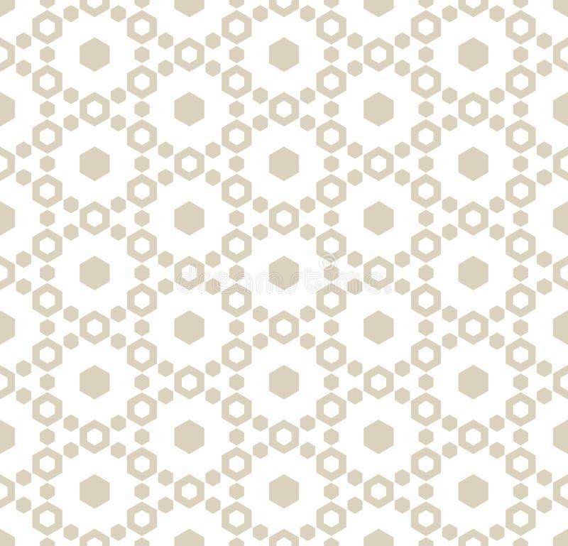 与六角形的微妙的几何无缝的样式 白色和米黄背景 向量例证