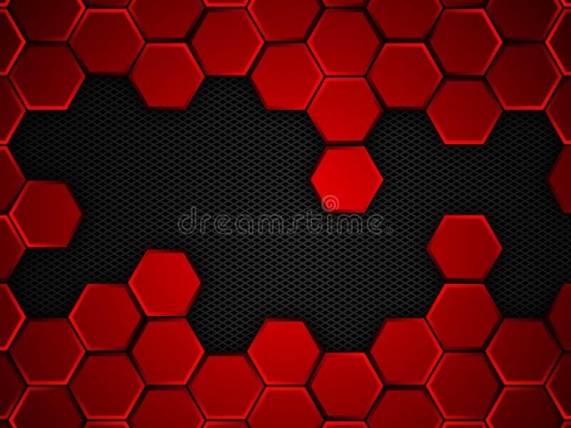 与六角形的抽象红色和黑背景,传染媒介例证 皇族释放例证
