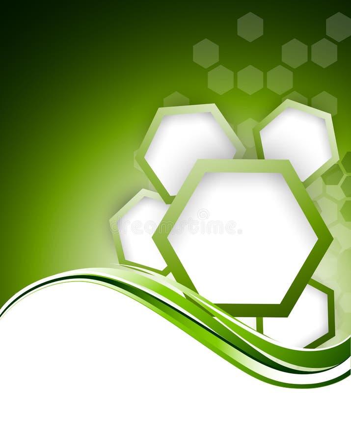 与六角形的抽象绿色bacgkround 向量例证