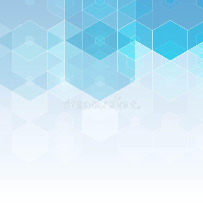与六角形的抽象蓝色背景 也corel凹道例证向量 皇族释放例证
