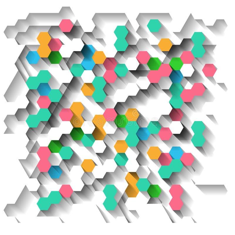 与六角形的明亮的背景 向量例证