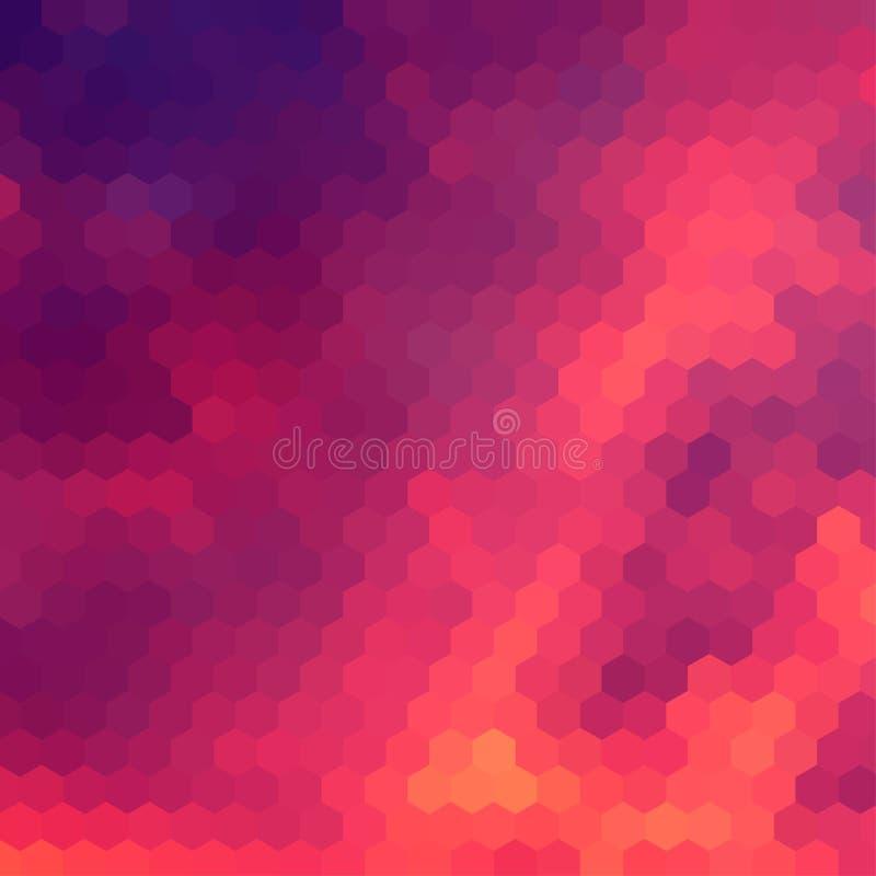 与六角形的栅格的日落主题的背景 皇族释放例证