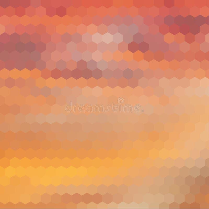 与六角形的栅格的日落主题的背景 库存例证
