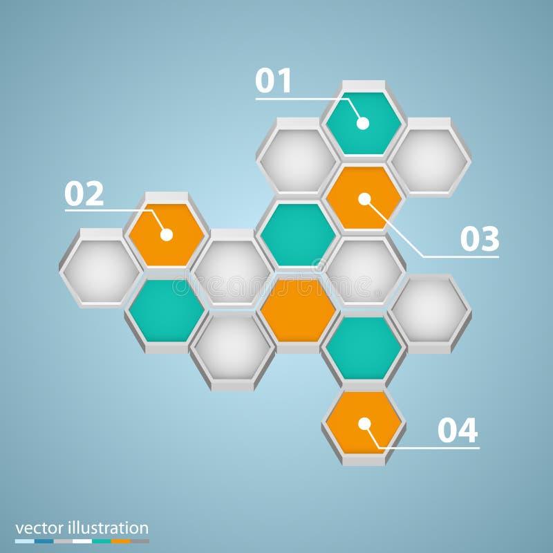 与六角形的Infographic设计 向量例证