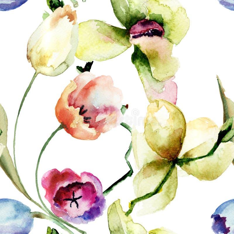 与兰花和郁金香花的无缝的样式 向量例证