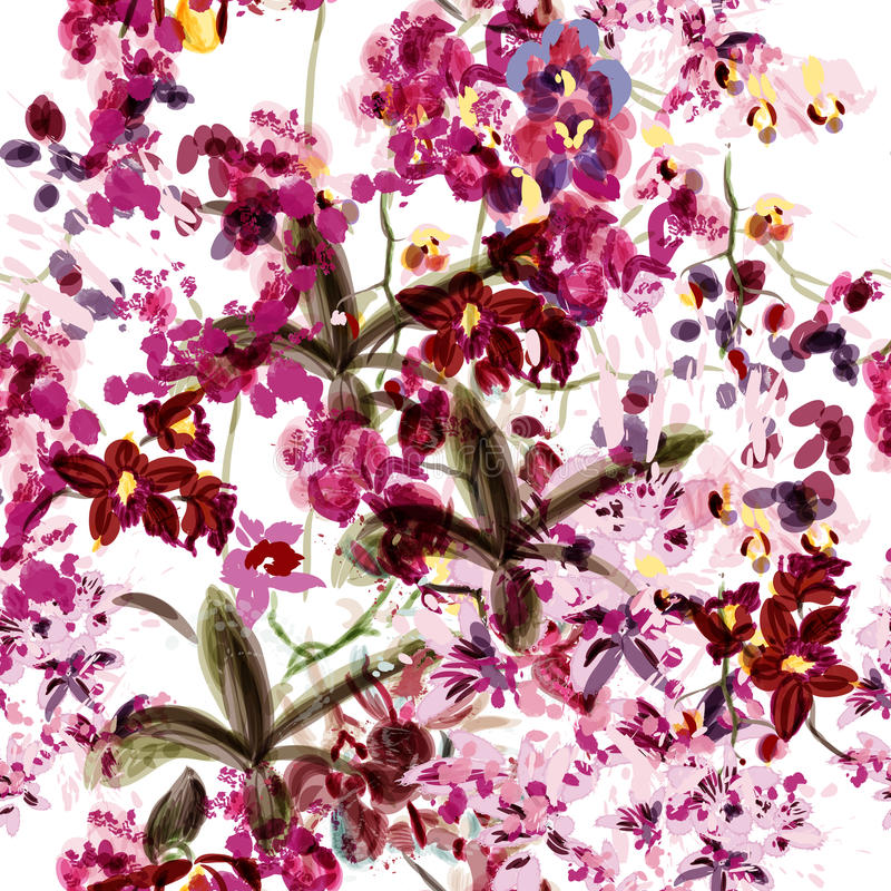 与兰花花的无缝的墙纸由水彩painded和 库存例证