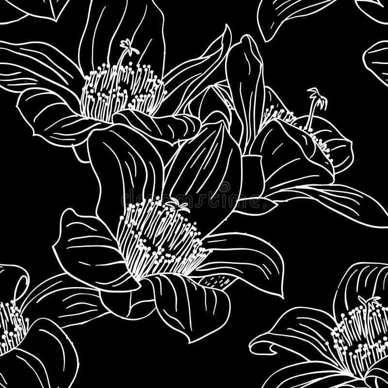 与兰花花的无缝的墙纸 库存例证