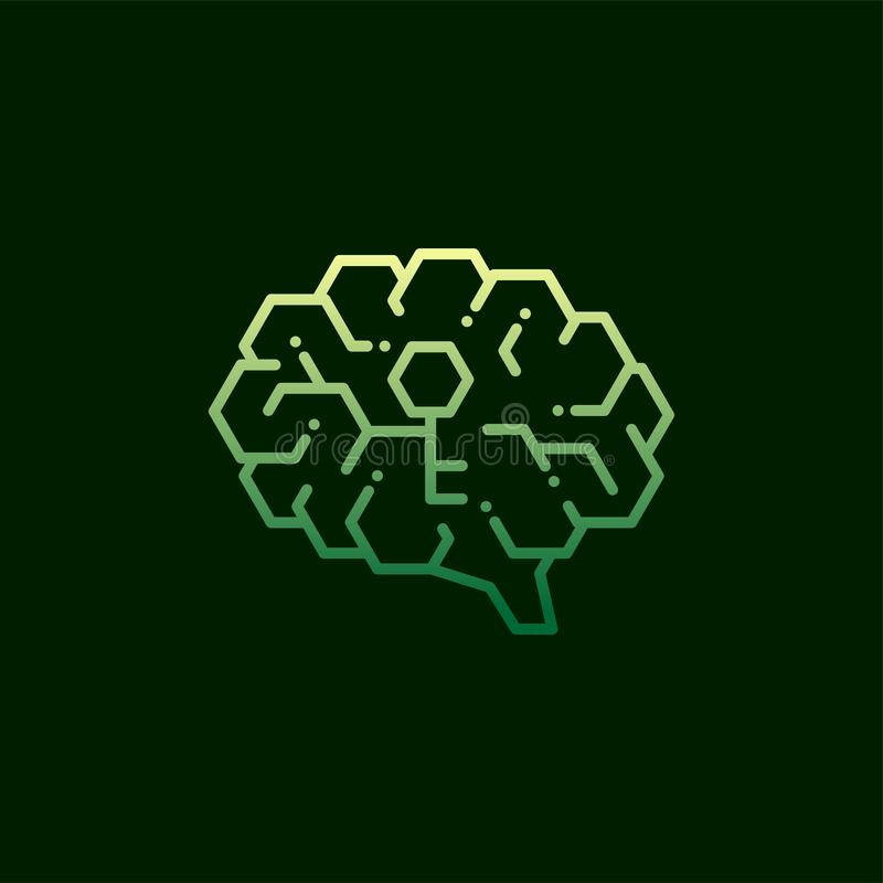 与关键标志的被隔绝的旁边脑子商标头脑构思设计例证绿色的象,秘密和黄色梯度颜色  向量例证