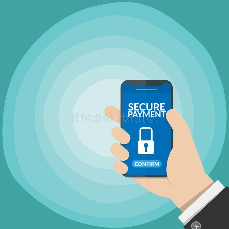 与关键锁标志的安全付款通知在在梯度蓝色隔绝的商人的手上的一个智能手机屏幕 皇族释放例证