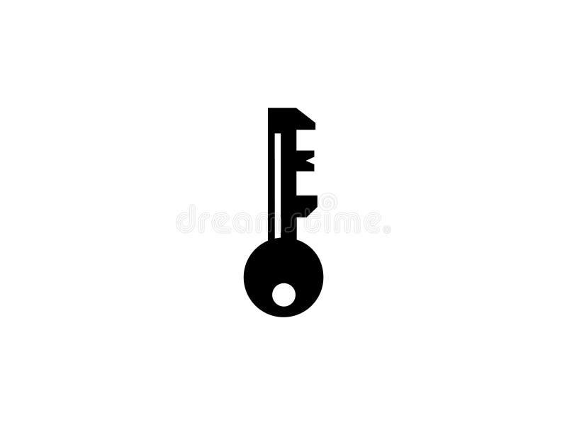 与关键黑白设计商标图表烙记的信件元素的首写字母O 库存例证