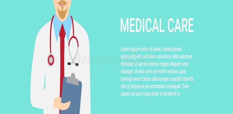 与关闭的医疗背景有听诊器的医生 也corel凹道例证向量 库存例证