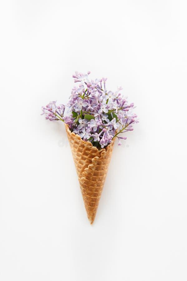 与关闭的卡片春天紫色淡紫色花花束在奶蛋烘饼锥体的在白色背景 顶视图 平的位置 空间fo 库存图片