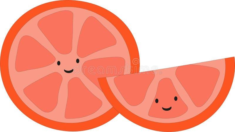 与兴高采烈的面孔的愉快的美味的逗人喜爱的桔子 向量例证