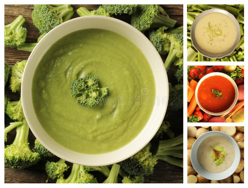 与其他的Brocoli汤亲切汤 免版税库存图片