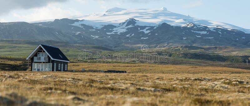 与典型的房子的风景在冰岛 库存照片