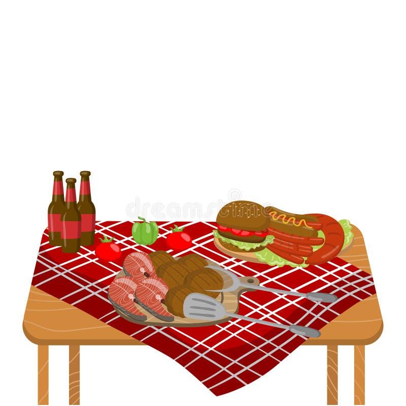与典型的野餐膳食、汉堡、牛排、菜和啤酒瓶的木桌在桌布动画片传染媒介 向量例证