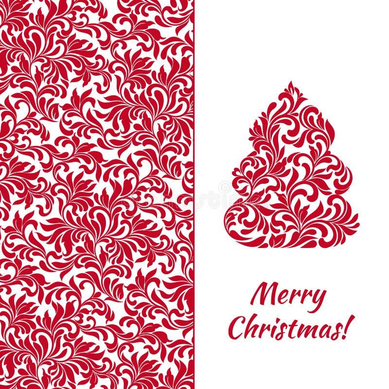 与典雅的圣诞树的贺卡和从抽象花饰的红色样式 向量例证