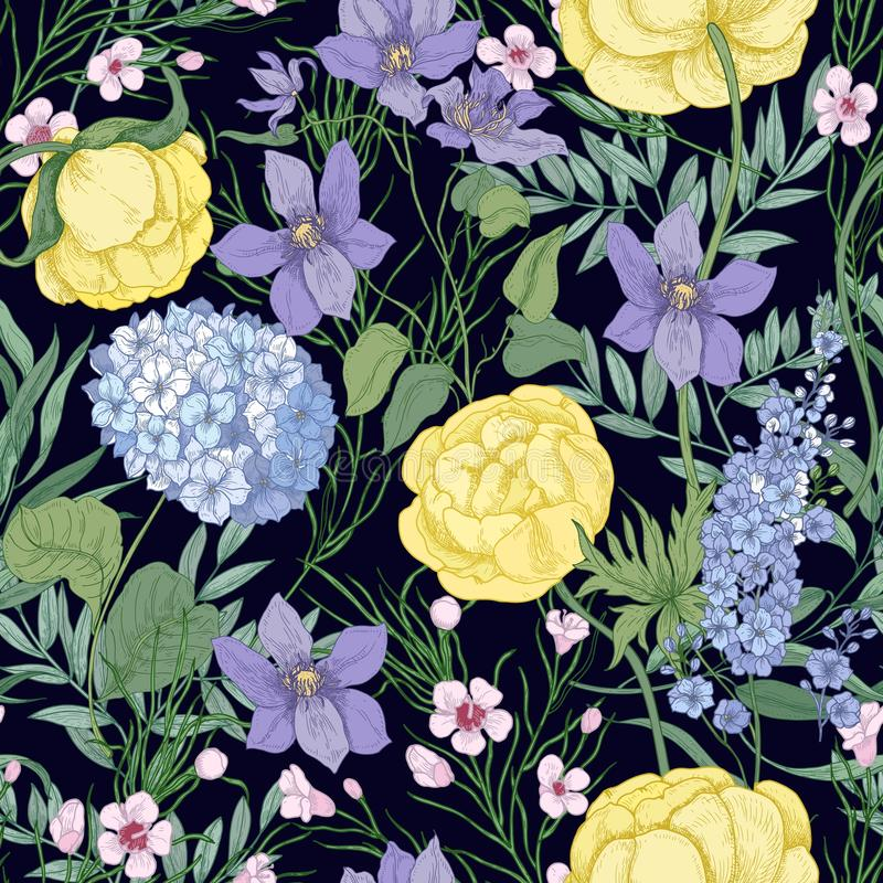 与典雅的开花的花和开花的草本植物的自然无缝的样式黑背景的 花卉手 皇族释放例证
