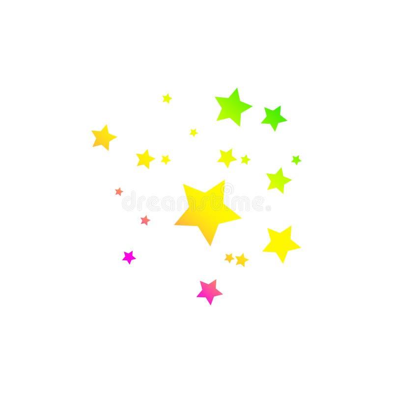 与典雅的星足迹的色的流星在白色背景 库存例证