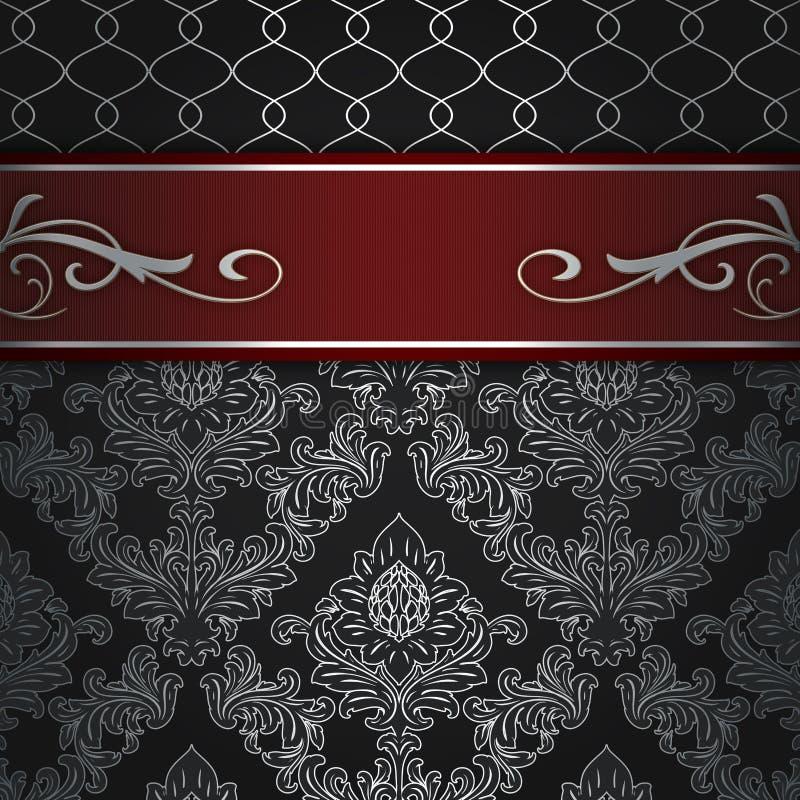 与典雅的红色边界的装饰背景 向量例证