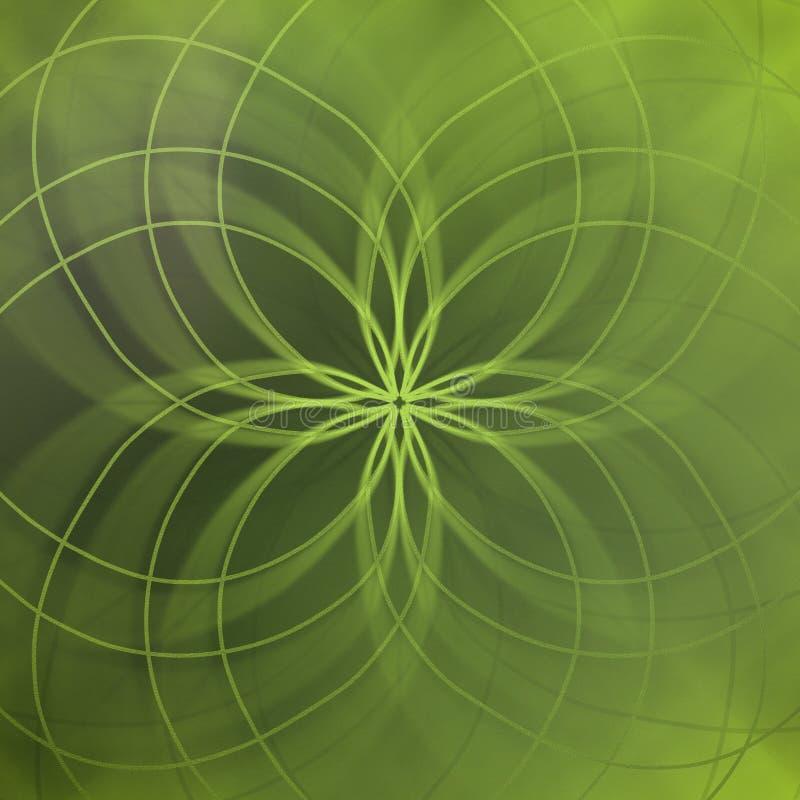 与典雅的线的抽象绿色背景和软性弄脏了样式 向量例证