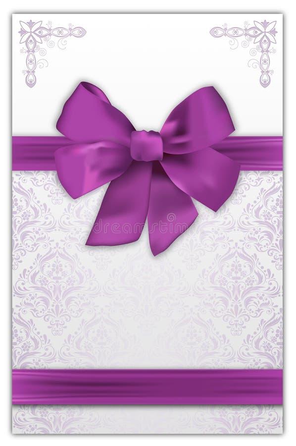与典雅的紫色弓的装饰背景 库存例证