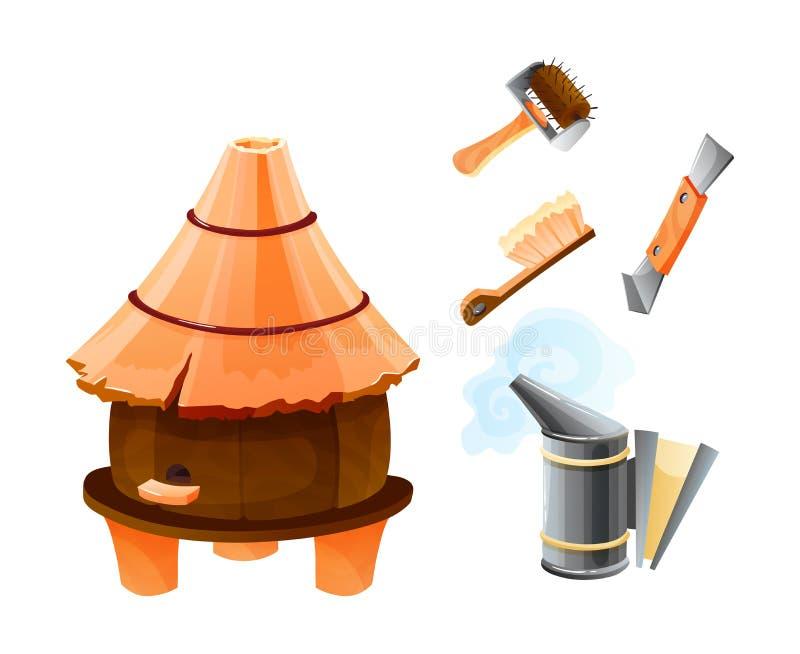 与养蜂业工具动画片传染媒介例证的木蜂房隔绝了 库存例证