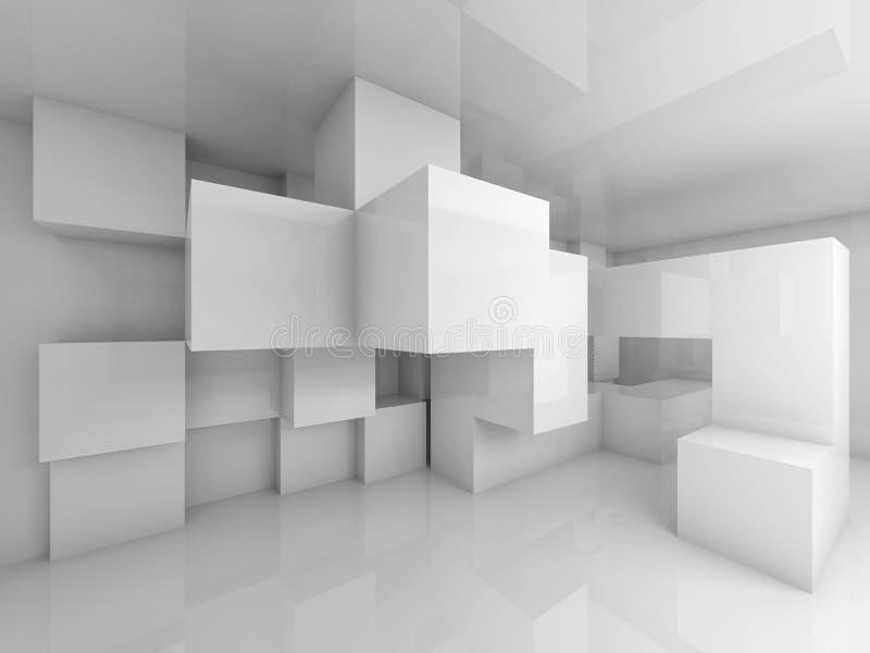 与内部白色混乱的立方体的抽象背景 库存例证